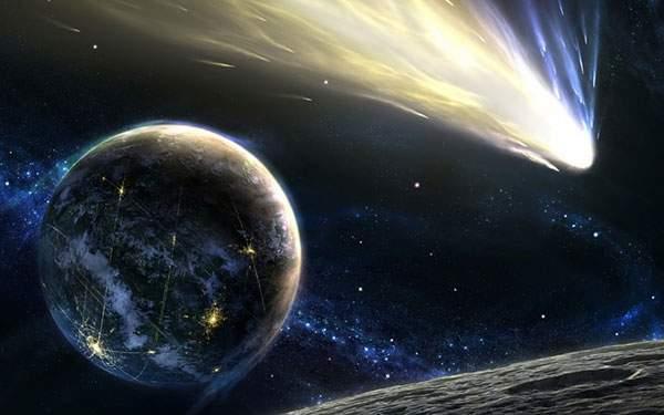 青白い尾をひいて宇宙を進む隕石を描いた美しいイラスト壁紙画像