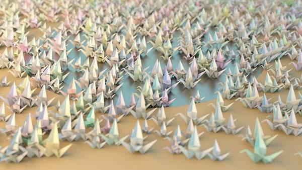 湖に集まった無数の鶴を折り紙で作った綺麗な壁紙画像