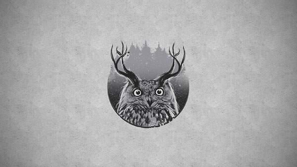 鹿のような角を持ったフクロウのシンプルでおしゃれなイラスト壁紙画像
