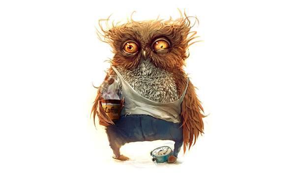 寝起きのフクロウをリアルな質感で描いたイラスト壁紙画像