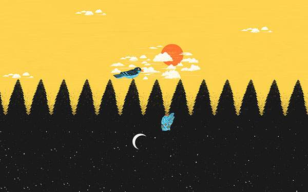 AL朝の鳥と夜のフクロウを上下逆さまで描いた可愛いイラスト壁紙画像T