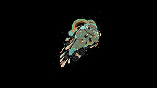 フクロウの宇宙飛行士を描いたイラスト壁紙画像