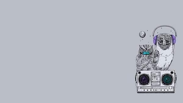 ステレオの上に止まった二羽のふくろうのオシャレなイラスト壁紙画像