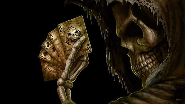 カードを持った骸骨を描いたかっこいいイラスト壁紙画像