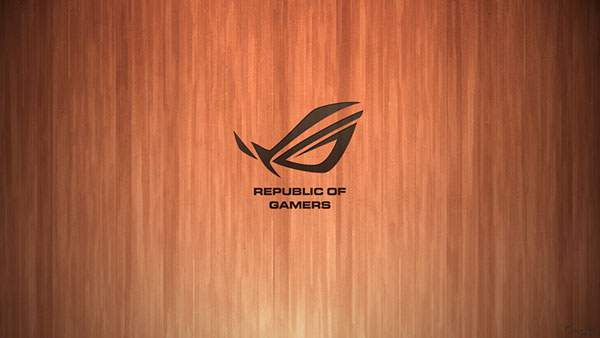 Republic of Gamers のロゴの木目壁紙画像