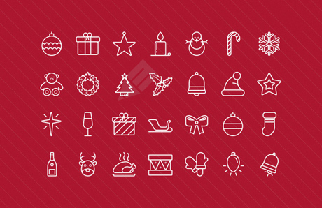 Outlined Vector Christmas Icons 2