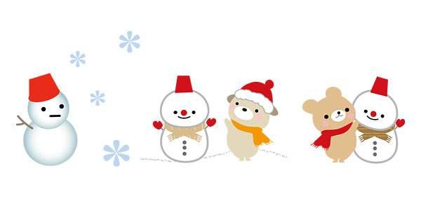 かわいい 雪だるま 冬のイラスト