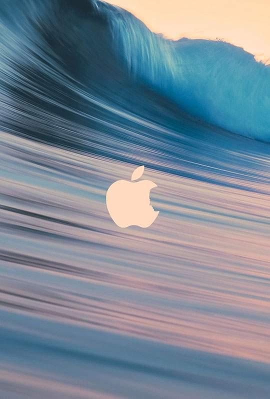 長時間露光で撮影した波とAppleロゴ