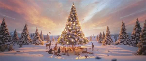 初めて見る美しいクリスマスツリー。