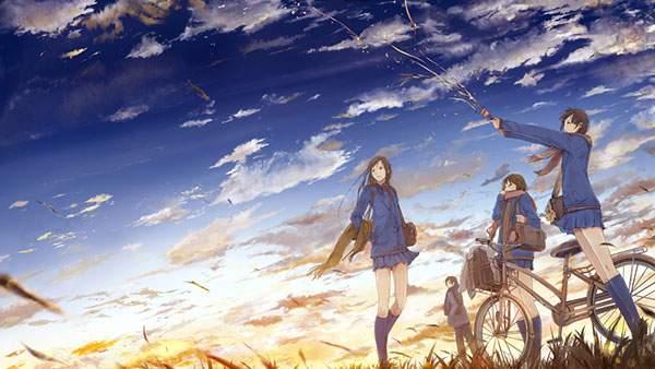 自転車と空と女子高生3人組の綺麗なイラスト壁紙画像