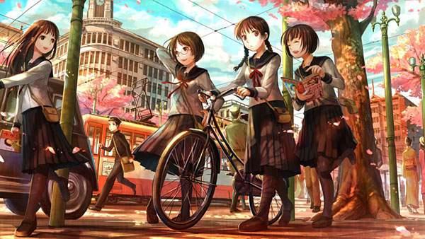 自転車を押して歩く昭和の女生徒たちを描いた可愛いイラスト壁紙画像
