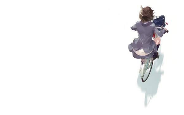 自転車に乗った女子高生を上から描いたシンプルで綺麗なイラスト壁紙画像