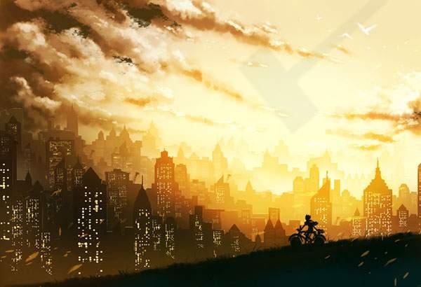 夕焼けの街並みと自転車をこぐ少年をシルエットで描いた美しいイラスト壁紙画像