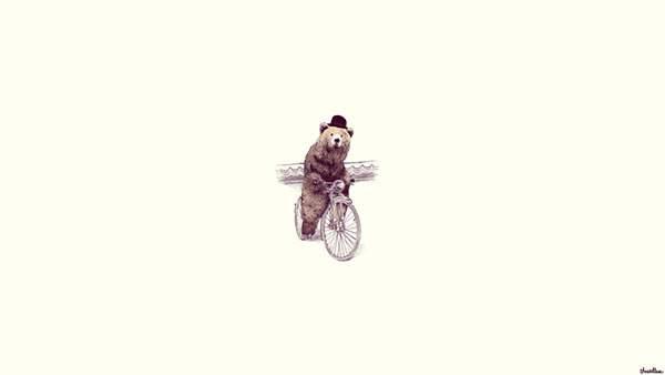 シルクハットをかぶって自転車に乗ったクマのシンプルで可愛いイラスト壁紙画像