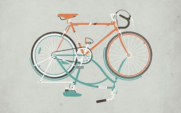 上下逆さまの二台の自転車を描いたオシャレなイラスト壁紙画像