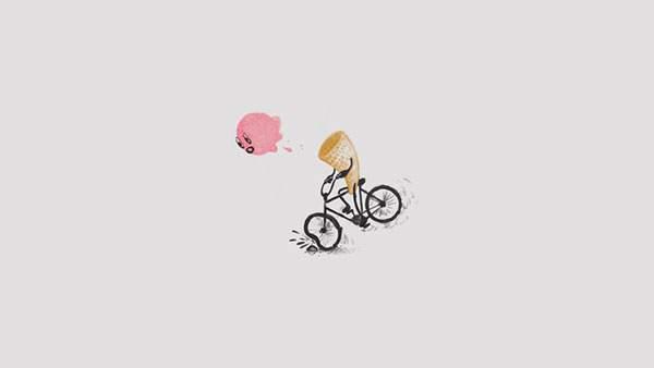 自転車でつまづいて頭が飛んでいくアイスクリームのキャラの可愛いイラスト