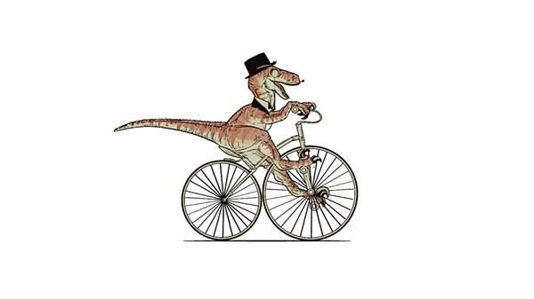 自転車に乗った紳士な恐竜を描いたユニークなイラスト壁紙画像