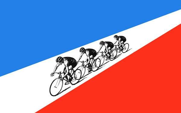 ツール・ド・フランスをお洒落にデザインしたシンプルなイラスト壁紙画像