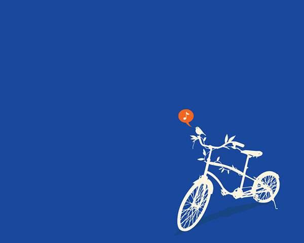 蔦の巻き付いた自転車とベルの代わりに鳴く鳥の可愛いイラスト壁紙画像