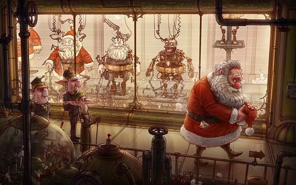 サンタクロースを量産する工場を描いた可愛いイラスト壁紙画像