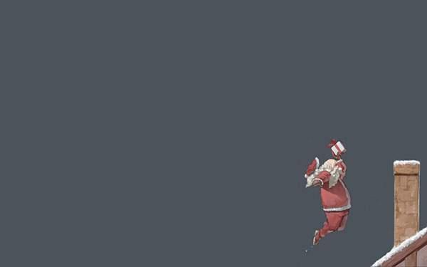 煙突にプレゼントをダンクシュートするサンタクロースのイラスト壁紙画像