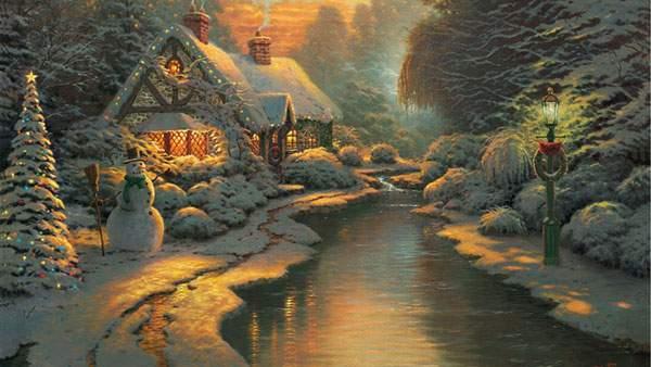 クリスマスの雪景色を描いた綺麗なイラスト壁紙画像