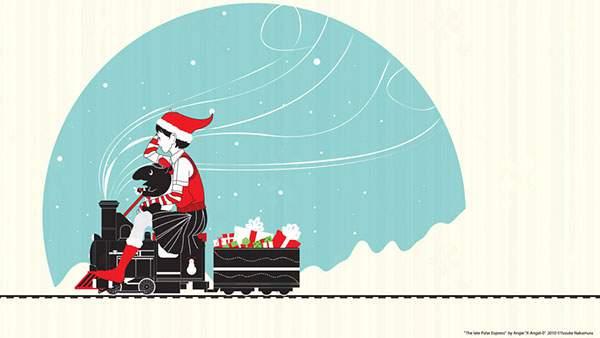 小さなSL機関車に乗ってプレゼントを届けに行く女の子のサンタの可愛いイラスト