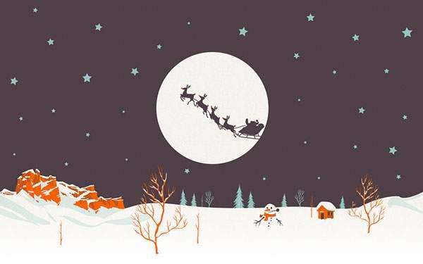 雪景色と月に浮かんだサンタクロースのシルエットの綺麗なイラスト壁紙画像