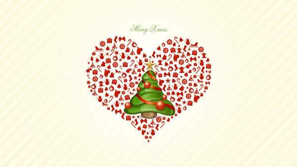 クリスマスツリーとたくさんのアイコンでデザインした綺麗なイラスト壁紙画像