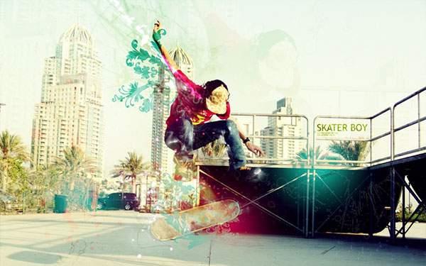 スケーターをカラフルにデザインしたクールなグラフィック系写真壁紙画像