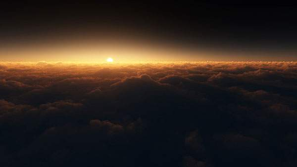 雲の上から朝日壁紙