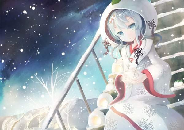 雪降る夜の雪ミクを柔らかいタッチで描いた可愛いイラスト壁紙画像
