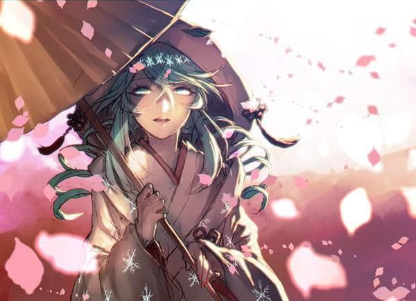 舞い散る桜の花びらと傘をさした雪ミクの美しいイラスト壁紙画像