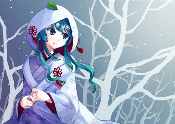 頭に葉っぱを乗せた雪ミク(2013年版)の可愛いイラスト壁紙画像