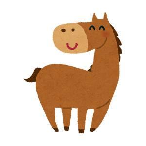 笑う馬のイラスト(午年)