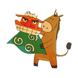 獅子舞を持つ馬の無料イラスト