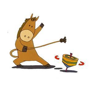 こまを回す馬の無料イラスト
