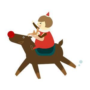 トナカイの乗る子供の無料イラスト