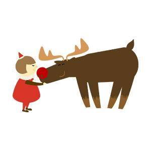サンタと子供の無料イラスト