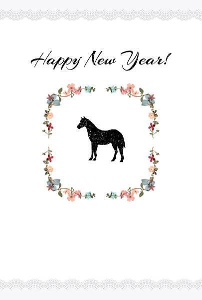 押し花と馬の年賀状テンプレート