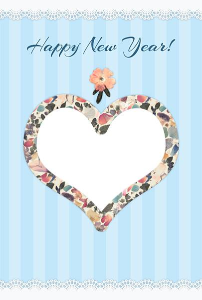 ハート型の押し花の年賀状テンプレート(写真フレーム付)