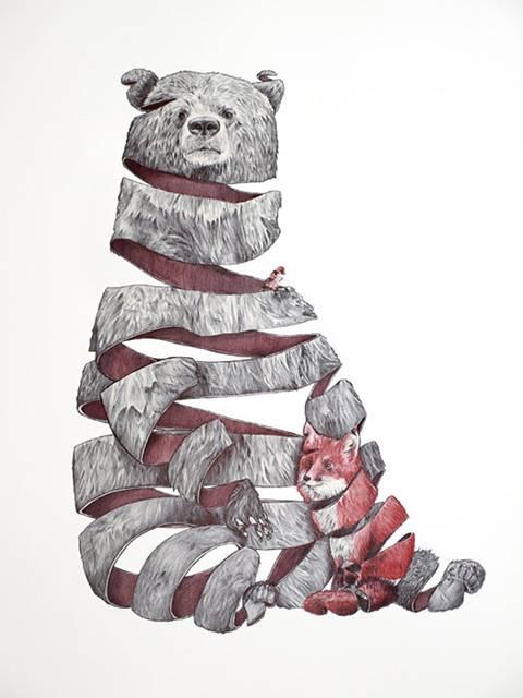 リンゴを剥いた皮のように描かれた動物たちのイラスト作品 - 01