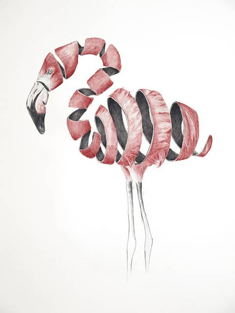 リンゴを剥いた皮のように描かれた動物たちのイラスト作品 - 02