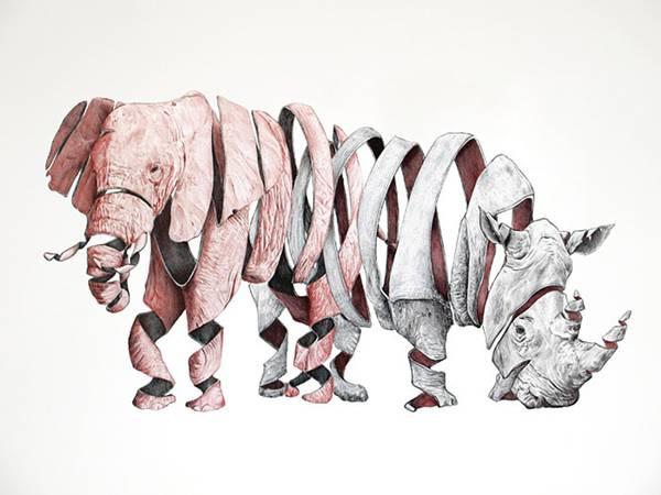 リンゴを剥いた皮のように描かれた動物たちのイラスト作品 - 04