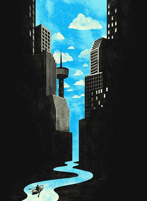 ネガティブスペースを使ったアイディアが楽しいイラスト作品 - 02