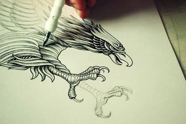 ペンで手描きされた機械のように超精密な作品 - 03