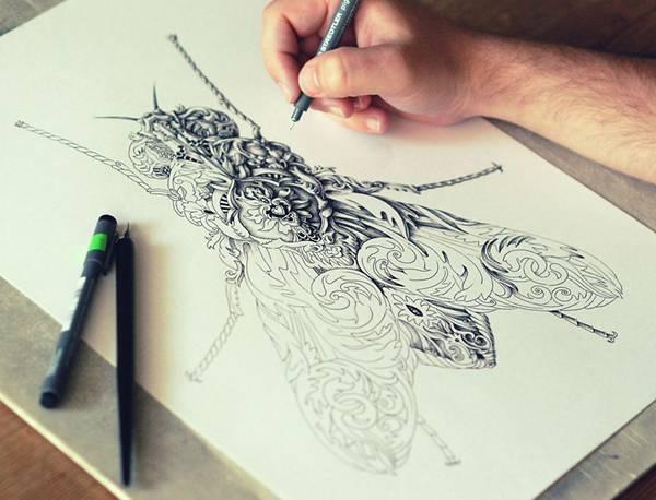 ペンで手描きされた機械のように超精密な作品 - 05