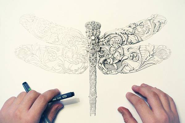 ペンで手描きされた機械のように超精密な作品 - 07