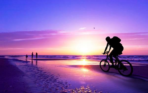 紫色の夕日の中を自転車で走るシルエットを撮影した美しい写真壁紙画像