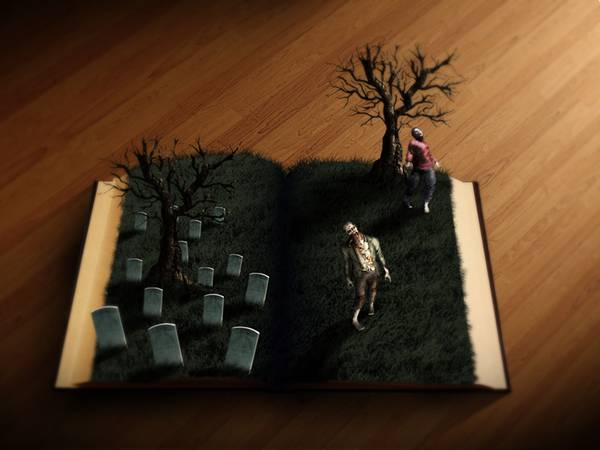 09.本から飛び出すお墓やゾンビ達のホラーな写真壁紙画像